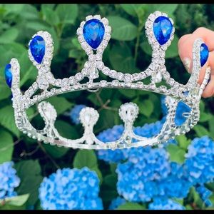 Blue & silver crystal crown tiara bridal prom